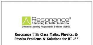 resonance 11th class maths chemistry physics revision book