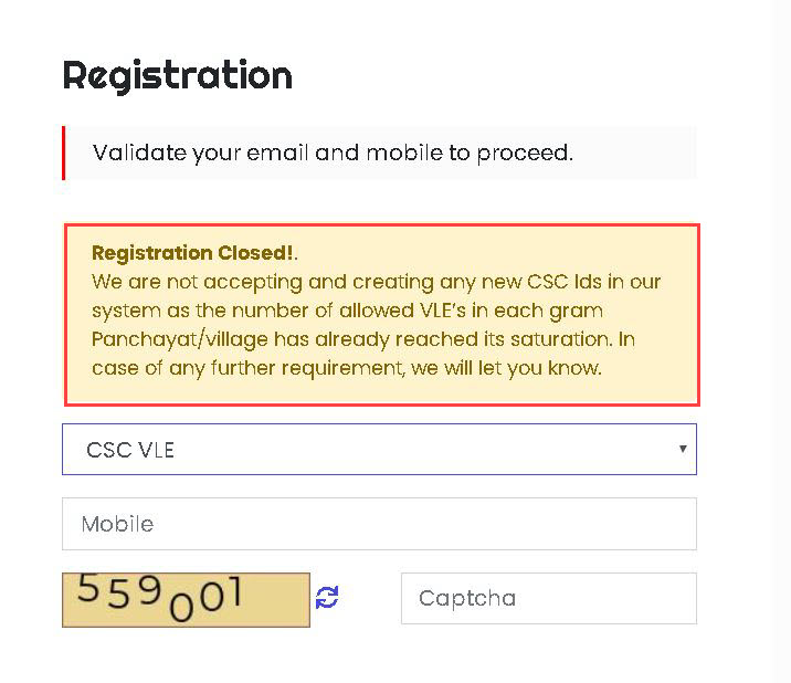 csc-new-registration-message CSC Registration 2020: Status, Apply New CSC Center, TEC Registration, Login|register.csc.gov.in|