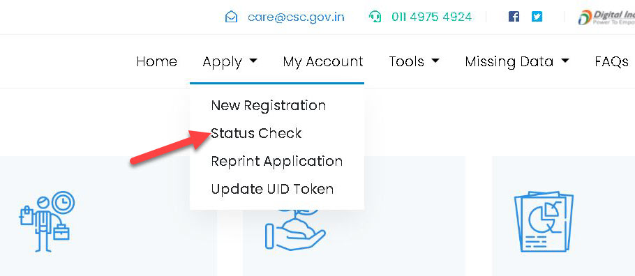 csc-status-check-1 CSC Registration 2020: Status, Apply New CSC Center, TEC Registration, Login|register.csc.gov.in|