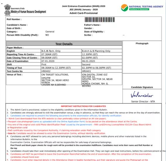 jee-main-admit-card-sample Download JEE Main Admit Card (Hall Ticket) 2020, Date @ jeemain.nic.in