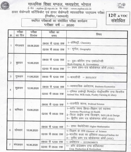MP-Board-12th-Time-Table-2020-June-routine MP Board 12th Admit Card Download 2020 | June @ mpbse.mponline.gov.in Exam Date (हॉल टिकेट)