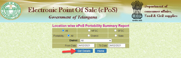 Location-wise-ePoS-Portability-Summary-Report Telangana Ration Card List 2021: Online Apply Link, Application Status  @ civilsupplies.telangana.gov.in