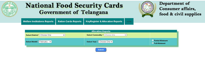 allocation-report-check-online Telangana Ration Card List 2021: Online Apply Link, Application Status  @ civilsupplies.telangana.gov.in
