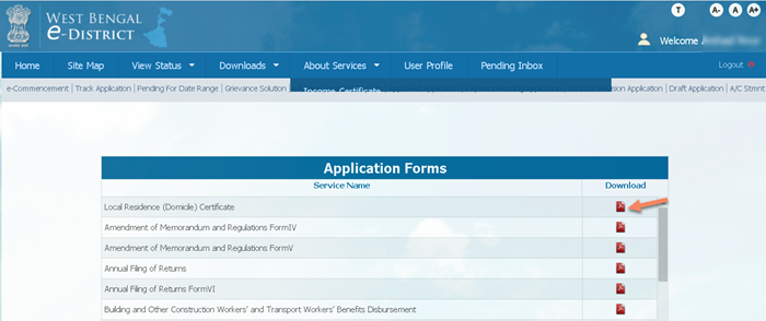 download-application-forms-edistrict-west-bengal WB eDistrict: Status Check, Apply for Income, Caste, Residence Certificate |  @edistrict.wb.gov.in