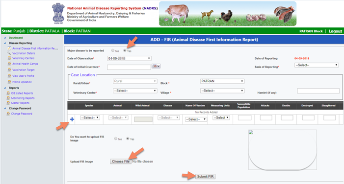 NADRS-new-reporting-form NADRS 2.0 Login - National Animal Disease Reporting System 2021 @nadrsapps.gov.in
