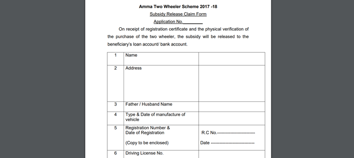 amma-two-wheeler-scheme-claim-form Amma Two Wheeler Scheme 2021: Application Form PDF, Beneficiary List, Last Date