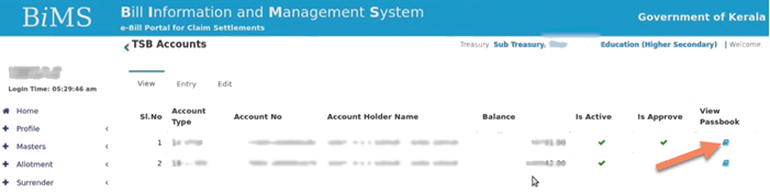 click-on-icon-to-download-passbook BIMS Login 2021: Account Statement, Print Passbook, Update Account Details (Treasury and DDO Login Portal)