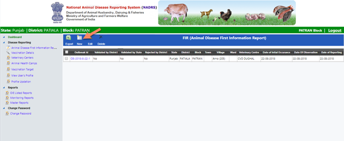 nadrs-click-on-new-reporting NADRS 2.0 Login - National Animal Disease Reporting System 2021 @nadrsapps.gov.in