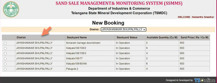 ssmms-online-sand-book-select-district-and-stockyard SSMMS 2021: Telangana Sand Booking, Login, Registration & Track Sand Order Status