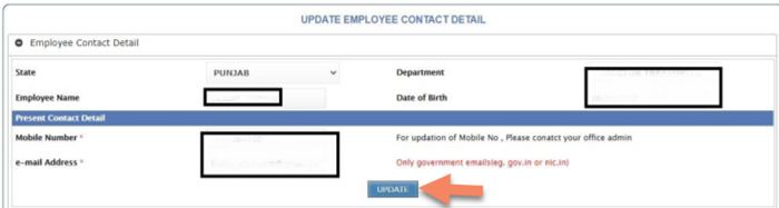 update-mobile-number-and-emails EHRMS Punjab Login 2021: Payslip, Salary, Apply for Leave, Update Bank, Registration (मानव सम्पदा पोर्टल) @hrms.punjab.gov.in