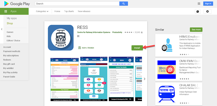 install-ress-app-for-salary-slip AIMS Portal Indian Railway: Regsitration, Salary Slip Download, Railway Employee Pay Slip