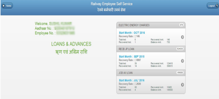 loan-and-advanced-details-display AIMS Portal Indian Railway: Regsitration, Salary Slip Download, Railway Employee Pay Slip