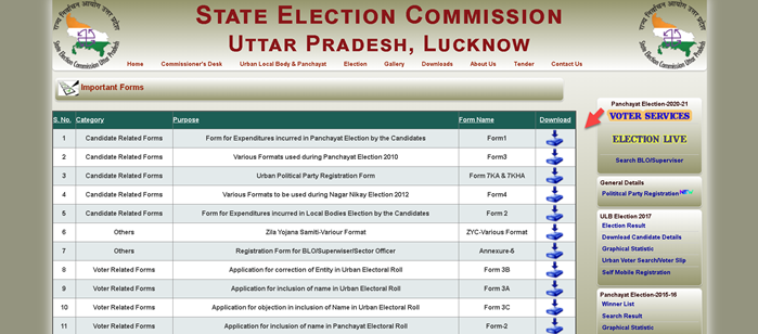 up-election-forms-download UP Voter List PDF 2021: Gram Panchayat Voter List UP, CEO Electoral Roll PDF Download