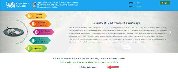 DL-Download-state-select Download DL Online: Process to Download Driving License, Duplicate DL Apply