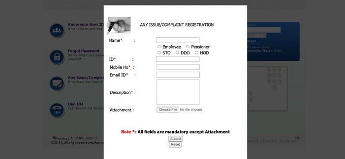 EHF-Ts-Complaint-Submit Health Card Telangana 2021: Online Apply, Download Card, Benefits, EHF Health Card