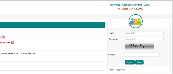 EPFO-Portal-Login-page PF Balance Check without UAN Number (With UAN), EPF Missed Call, SMS, UMANG