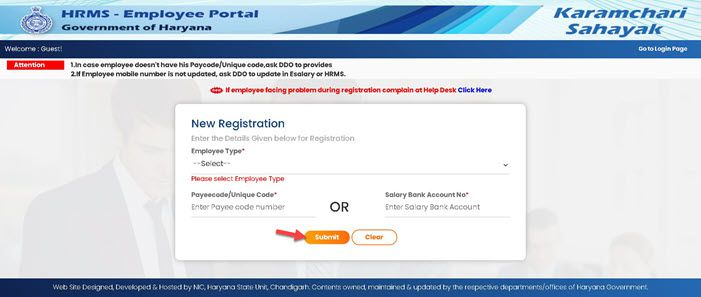 Intra-Haryana-Registration-page Intra Haryana: Login, Property Return, eSalary, Salary Statement, Leave Apply @intrahry.gov.in