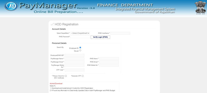 Paymanager-HOD-Registration Paymanager (paymanager2.raj.nic.in): Employee Login, Salary Slip, Leave